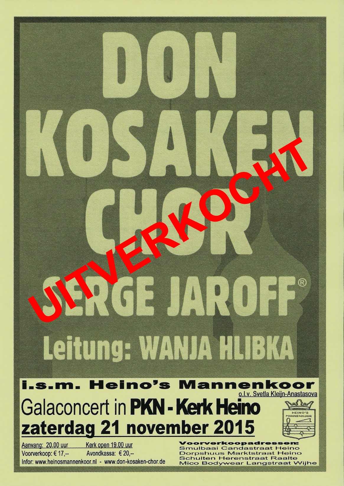 Concert Don Kozakkenkoor uitverkocht